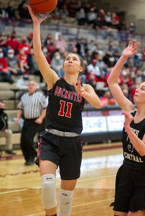 Buckeye Central's Emily Siesel attempts a lay up.