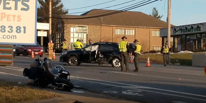 Motorcyclist seriously injured in crash on Beechmont Avenue.