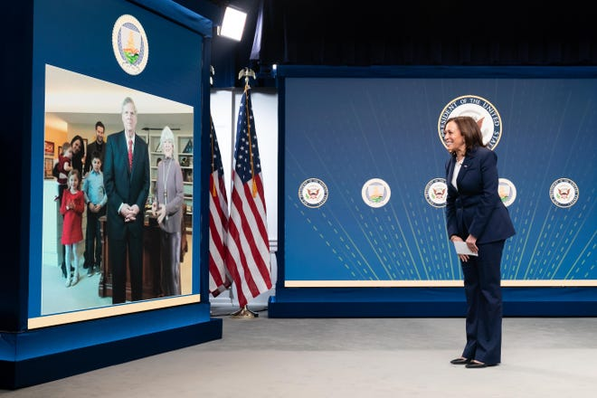 Vice President Kamala Harris virtually swears in Tom Vilsack as Secretary of Agriculture Feb. 24 in the Eisenhower Executive Office Building at the White House. Vilsack, who served in the same post under President Barack Obama, was confirmed by the Senate 92-7.