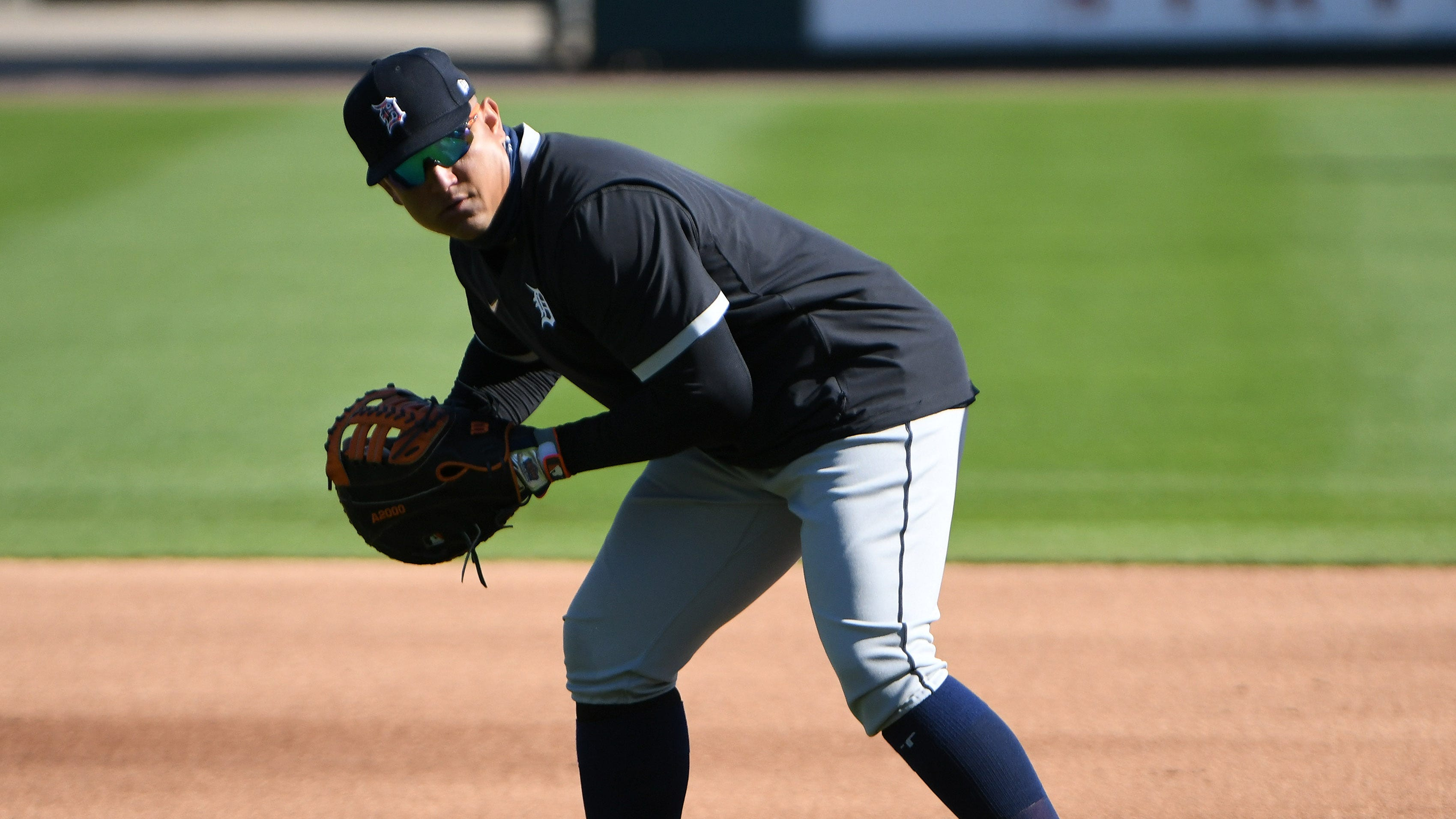 Tigers first baseman Miguel Cabrera during infield practice.