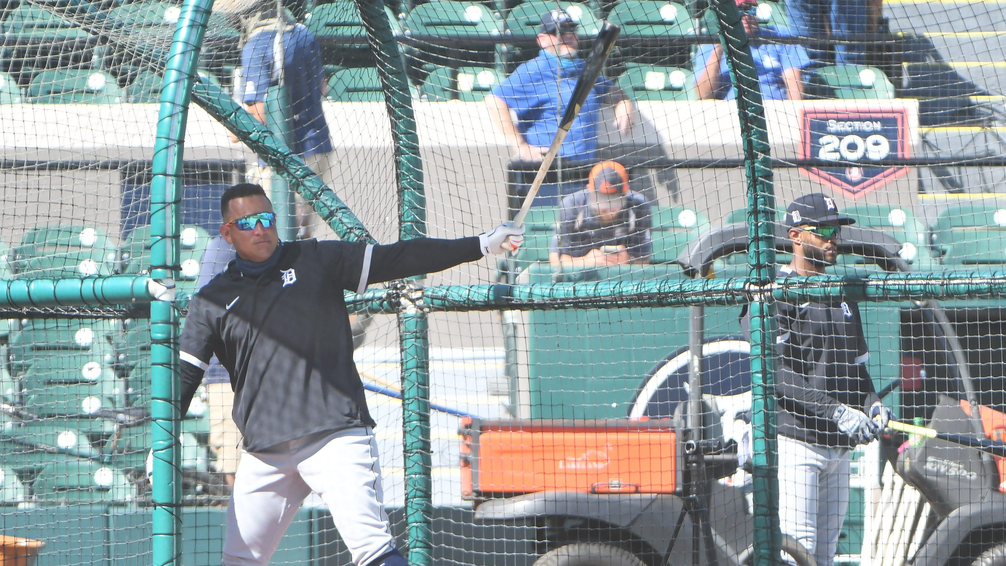 Tigers slugger Miguel Cabrera takes batting practice.