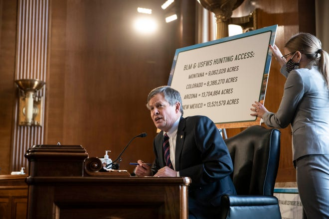 """FILE - In this Wednesday, Feb. 24, 2021, file photo, Sen. Steve Daines, R-Mont., speaks during a Senate Committee on Energy and Natural Resources hearing on the nomination of Rep. Debra Haaland, D-N.M., to be secretary of the Interior on Capitol Hill in Washington. Daines said his opposition to Haaland is based on views that he calls """"radical."""" (Sarah Silbiger/Pool Photo via AP, File)"""