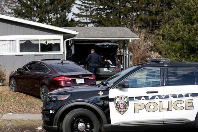 Lafayette police investigate a stabbing on the 2300 block of Foxhall Ave, Friday, Feb. 26, 2021 in Lafayette.
