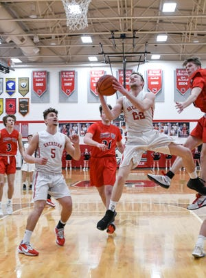 Sheridan senior Landen Russell goes in for a shot against Fairfield Union Thursday night at Glen Hursey Gymnasium. The host Generals defeated the visiting Falcons 46-34. -Jamie Potts/Eagle Gazette