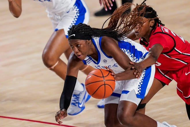 """Kentucky guard Rhyne Howard has led the Wildcats to a No. 4 seed in the NCAA Tournament. """"I do believe that she's the best player in the country,"""" Kentucky assistant coach Niya Butts said. """"She's a unique talent, and they don't come around that often."""""""