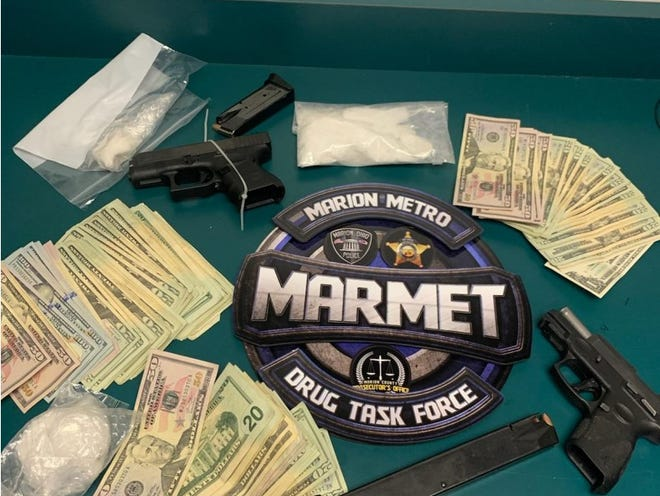 MARMET Task Force seized 261.3 grams of what is believed to be methamphetamines as well as two loaded handguns and $3,536 after a concerned citizen called in suspicious activity on the 1300 block of Crescent Heights Road on Feb. 23, 2021.