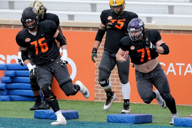 Quinn Meinerz, an offensive lineman from UW-Whitewater, caught national attention during practice for the Senior Bowl.