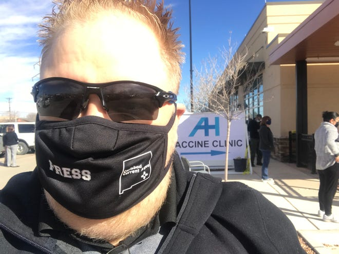 Matthew Asher outside the Artesia General Hospital to get the first of his two COVID-19 vaccinations on Feb. 23, 2021.