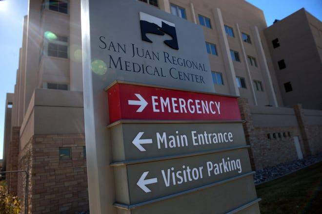 A sign points toward the direction of the San Juan Regional Medical Center's emergency department, Nov. 8, 2017 in Farmington.