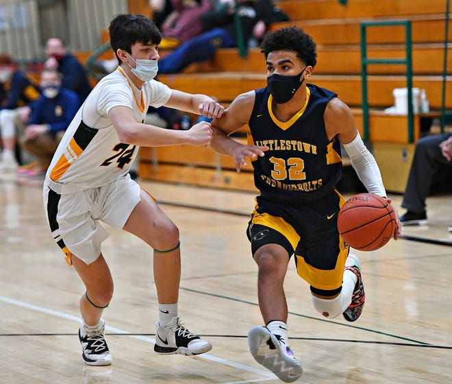 Littlestown's Jayden Weishaar, seen here at right in a file photo, is the only player from the York-Adams League to earn all-state honors from the Pennsylvania sports writers in 2021. Weishaar was a third-team pick in Class 4-A.