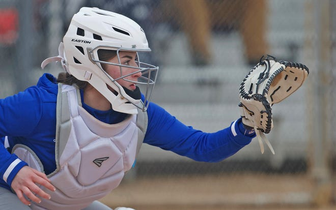 Mikaila Wagner catches for Lake View during a game against Bangs in the Concho Classic Softball Tournament on Thursday, Feb. 25, 2021.