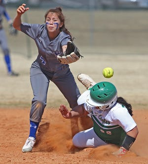 Yatzari Narvaez, right, slides into second base for Eldorado during a game against Winters on Friday, Feb. 26, 2021.