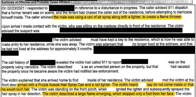 Excerpt from the arrest affidavit