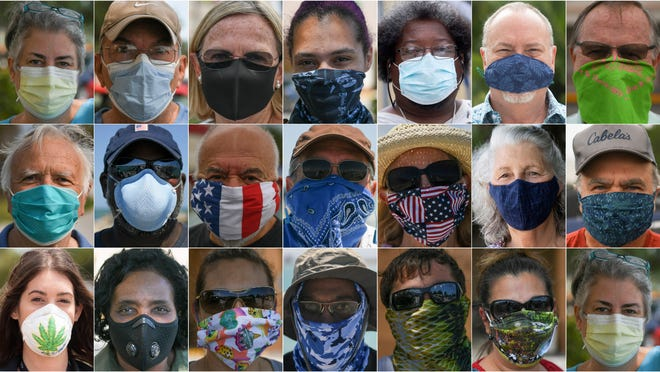 Treasure Coast residents wear their face coverings to protect against COVID-19 in April 2020. Throughout the year, Treasure Coast counties have had different mandates for wearing masks in indoor and public spaces, with St. Lucie County the only one to still require them everywhere in public.