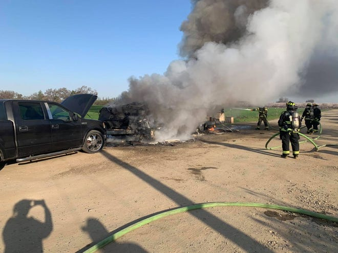 Tulare County Fire Department investigates a deadly motorhome fire on Thursday, February 25, 2021.