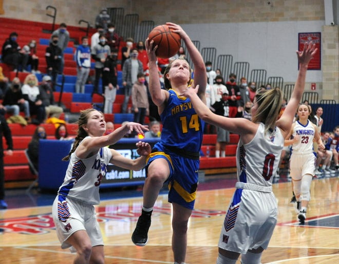 Bailee Smith drives into the lane for a shot during Maysville's 55-44 loss to host West Holmes in a Division II sectional final. Smith was tabbed the Division II girls co-player of the year for the East District.