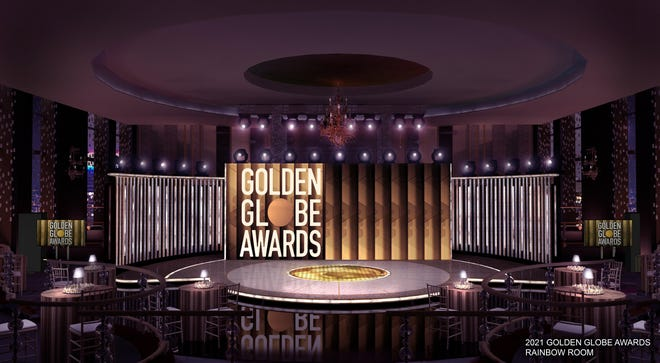 The HFPA revealed the Golden Globes stage in New York's Rainbow Room, where Tina Fey will host.