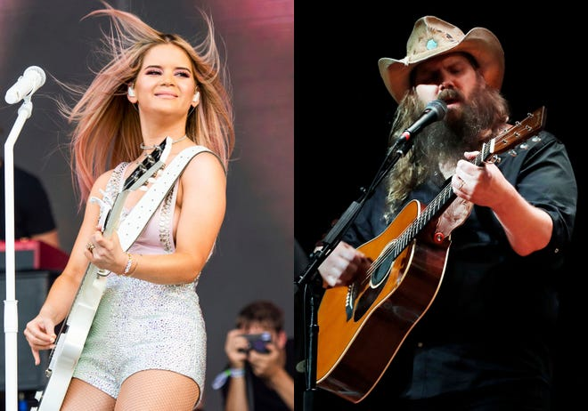 Maren Morris performs at the Bonnaroo Music and Arts Festival in Manchester, Tenn., on  June 15, 2019 , left, and Chris Stapleton performs during Marty Stuart's Late night Jam at the Ryman Auditorium in Nashville, Tenn. on June 7, 2018. Morris and Stapleton lead the nominations for this year's Academy of Country Music Awards.