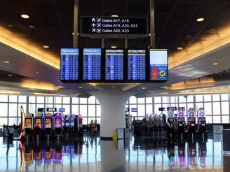 The Las Vegas airport features slot machines in gate areas and baggage claim.