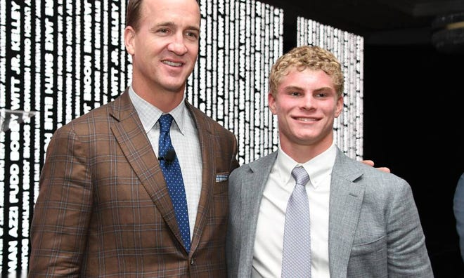 Peyton Manning (left) poses with then Houston Strake Jesuit (Tex.) sprinter Matthew Boling during the Gatorade Athlete of the Year Awards at Ritz-Carlton in Marina del Rey, Calif.,  Jul. 9,  2019.