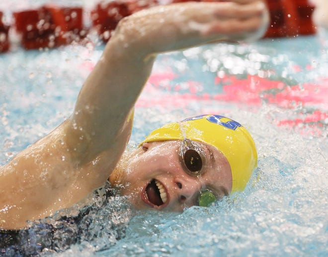 Wooster's Gracie Chelf swims in the 100 yard Freestyle at the Div. I Swimming and Diving Championships at C.T. Branin Natatorium in Canton, Ohio on Friday Feb. 26, 2021.