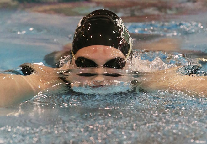 Aurora's Alayna Brooker  swims in the 100 yard Breaststroke at theDiv. I Swimming and Diving Championships at C.T. Branin Natatorium in Canton, Ohio on Friday Feb. 26, 2021.