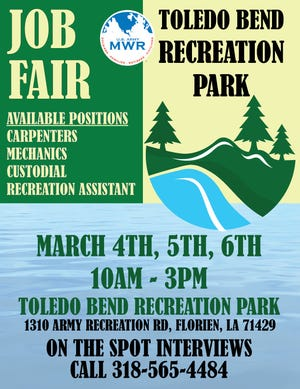 The Toledo Bend Recreation Park is holding a Job Fair with on the spot interviews for a variety of positions.