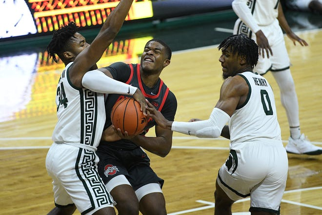 Ohio State sophomore E.J. Liddell scored 18 points in the Buckeyes' physical loss to Michigan State on Thursday, but he feels he could have done better playing through contact.