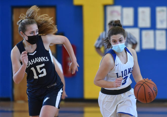 Lexi Morisset, right, of St. John Paul II moves the ball up court as Cape Cod Academy's MacKenzie Balfore gives chase in the Cape & Islands League Lighthouse championship game Friday.