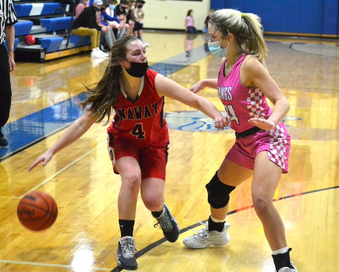 Inland Lakes junior guard Olivia Monthei (right) defends Onaway junior guard Lainey Shimel (4) during the second half of a varsity girls basketball contest in Indian River on Friday.