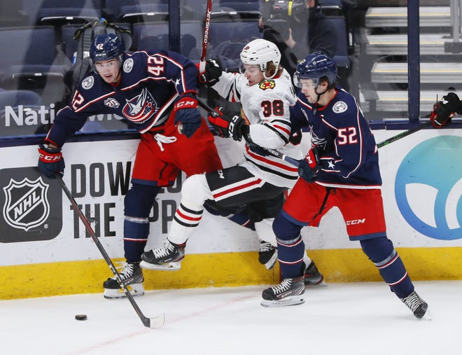 Emil Bemstrom (52) returned to the Blue Jackets lineup on Thursday against Chicago for the first time since Jan. 21. His next challenge is trying to figure out how to use his powerful shot to his advantage.