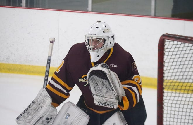 Jake Sumner started all 13 games in goal for the Minnesota Crookston hockey team this season.
