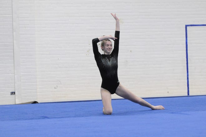 Tecumseh's Jordyn Wright performs during the the floor routine in Friday's dual at Adrian.