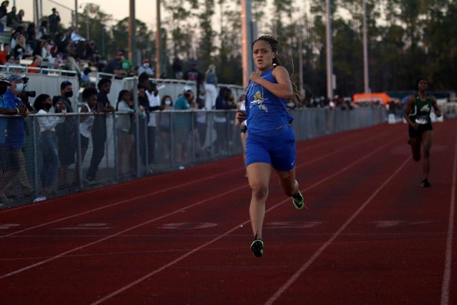Mainland senior Cydney Wright swept the 100- and 200-meter dash events at the East Coast Classic at Flagler Palm Coast High School on Friday, Feb. 26, 2021. [Ka'Deem Wynn/News-Journal]