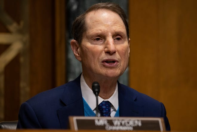 Senate Finance Committee Chairman Ron Wyden, D-Ore., speaks at the Senate Finance Committee hearing at the US Capitol on Feb. 25, 2021, in Washington, DC.