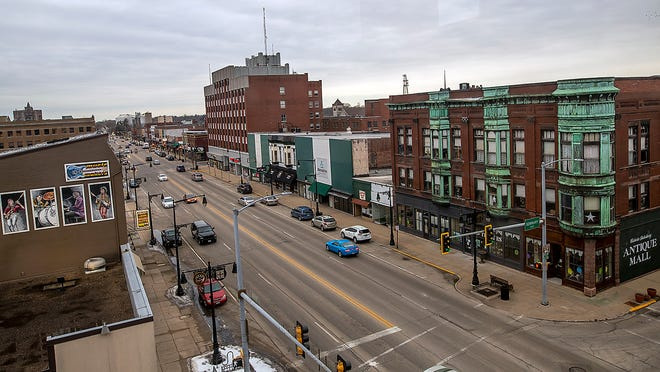 A portion of downtown Galesburg, looking west, is seen from the third floor of Lindstrom's TV & Appliance, 400 E. Main St., on Friday, Feb. 26, 2021.