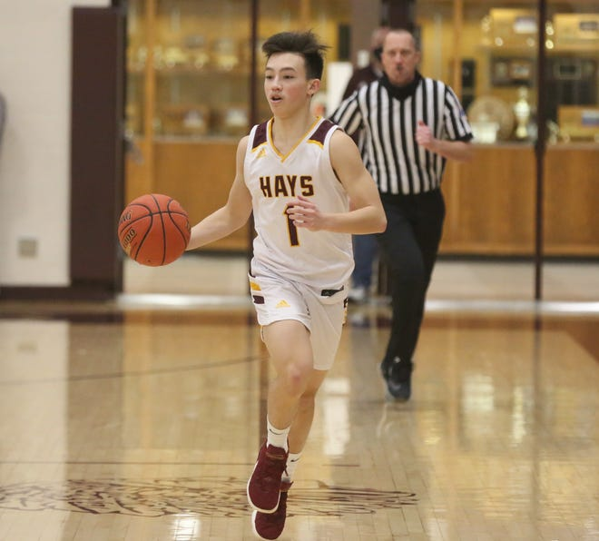 Hays High's Jason Krannawitter brings the ball up the court on Friday against Great Bend.
