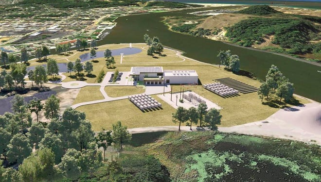 A downstream view showing the proposed gas-powered peaking plant an an Operations and Technical Center on Harbor Island