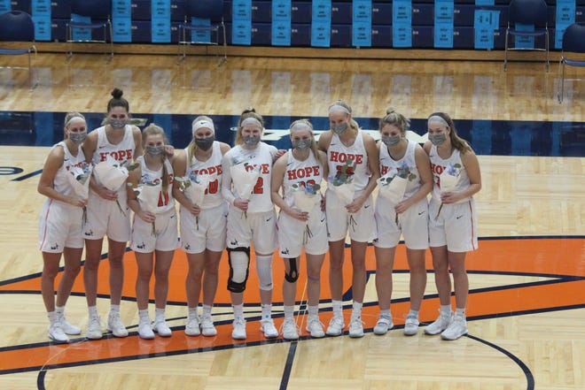 Hope College women's basketball held their senior day festivities before their win over Kalamazoo