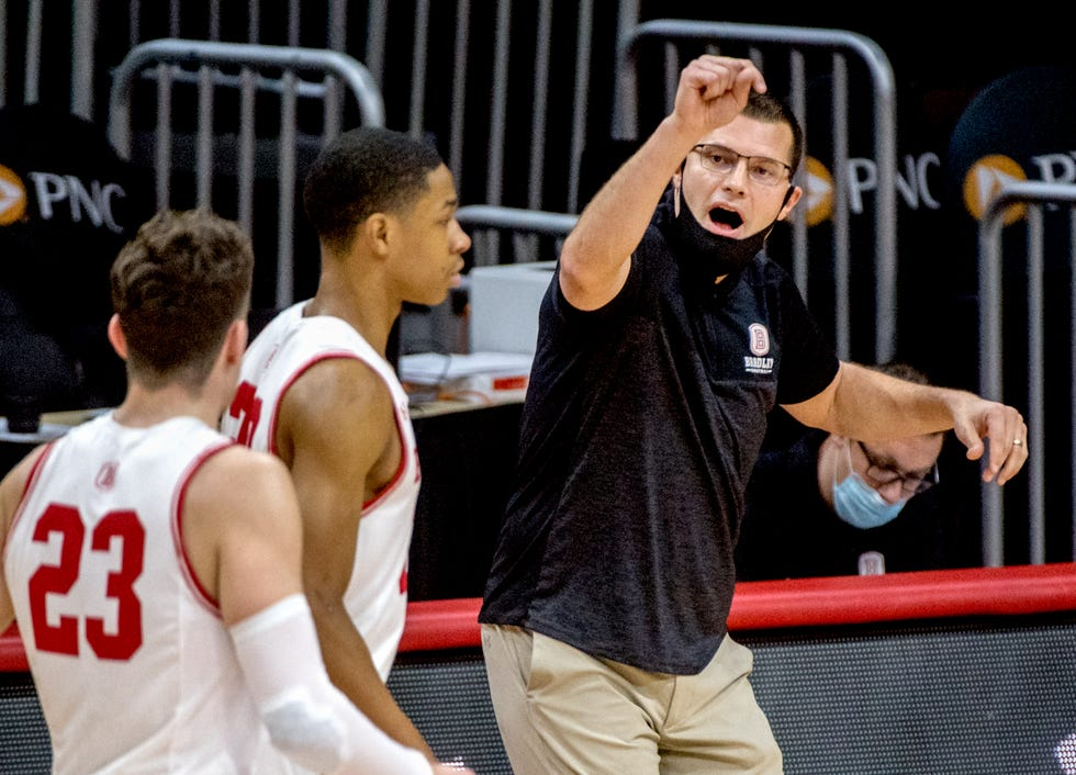 Bradley coach Brian Wardle talks to his players as they come off the court last season at Carver Arena.