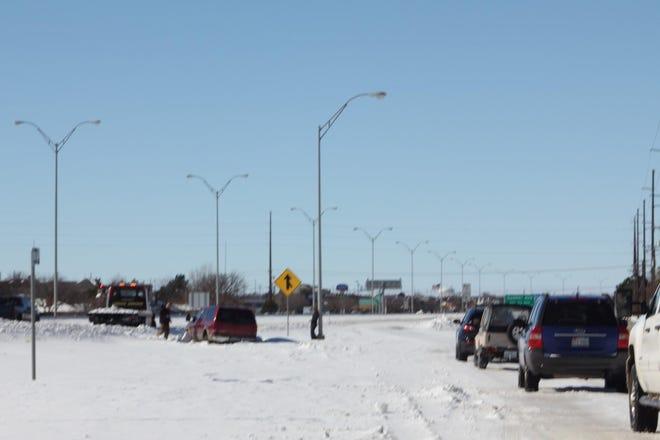 Winter storm Goliath left cars stranded in heavy snowfall across Lubbock in late 2015.