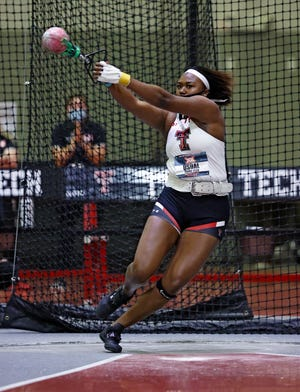 Texas Tech's Season Usual defended her title in the weight throw on Friday's first day of the Big 12 indoor championships at the Sports Performance Center. Usual broke the meet record with a mark of 70 feet, 10 inches, likely qualifying for the NCAA championships as well.