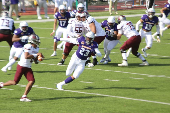 Western Illinois' Eryk Preston is in pursuit during Saturday's game against Missouri State.