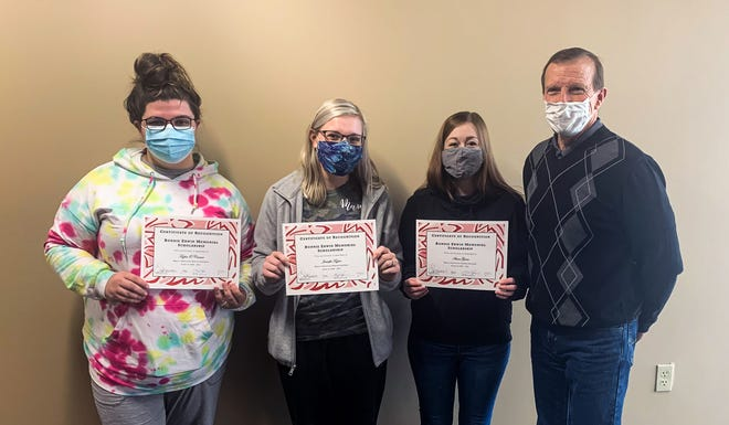 Nursing students at Moberly Area Community College's progam at the Mexico campus site that received a Bonnie Erwin Nursing Scholarship on Feb. 18 are Taylor O'Connor  and Jennifer Taylor of Mexico, and Anna Gann of Wellsville. Also shown is Steve Hagan (ight) representing the scholarship board.