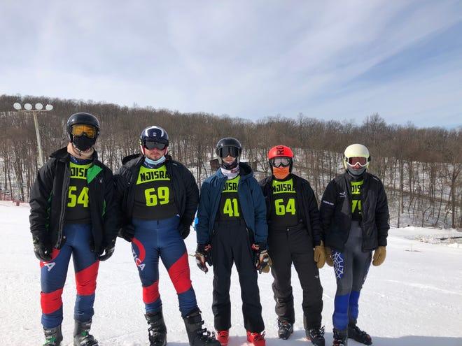 The Vernon boys ski team, including, from left, Evan Amato, Christopher Schnabel, Matt Tavares, Morgan Freifelder and Mason Freifelder, poses during the Race of Champions in February at Winter 4 Kids in Vernon.