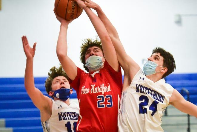 New Hartford plays Whitesboro in boys high school basketball on Friday, February 26, 2021. New Hartford won 53-34.