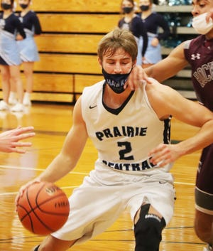 Trey Bazzell of Prairie Central, shown in Thursday's game with Tolono, scored 31 points to lead the Hawks past St. Joseph-Ogden Friday night at PCHS.