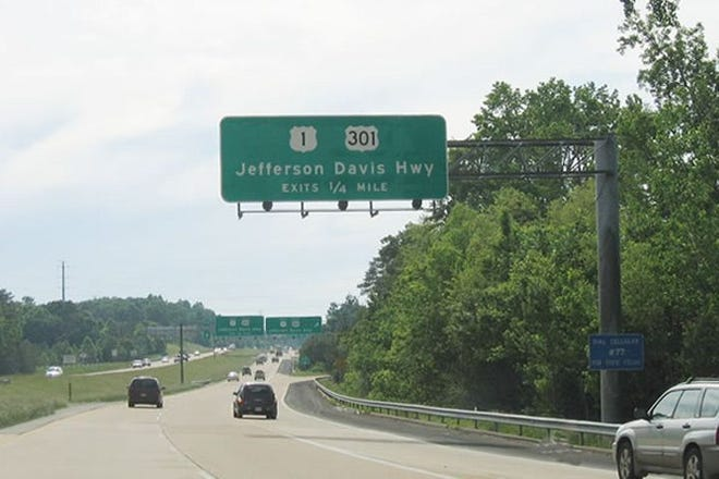 This sign on state Route 288 near Chester identifies that portion of U.S. Routes 1 and 301 as Jefferson Davis Highway.