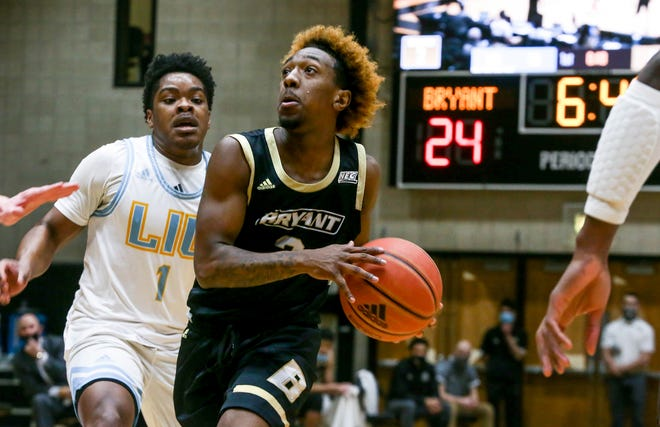 Bryant's Michael Green III goes to the hoop against LIU last week. Despite a COVID-19 positive test, the Northeast Conference will allow Bryant to compete in the playoffs this weekend.