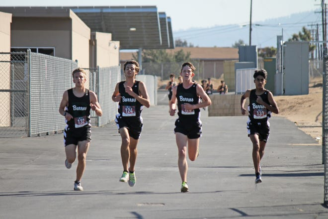 Ben Washburn, Michael Hoyer, Bryce Hill and Yaseen Sarder start off strong for the Burros during the team's first meet of the season against Hesperia Wednesday.